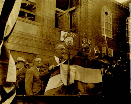 President Franklin D. Roosevelt Speaking at Brooklyn College Cornerstone Laying, 1936. Courtesy of Brooklyn College Archives and Special Collections.